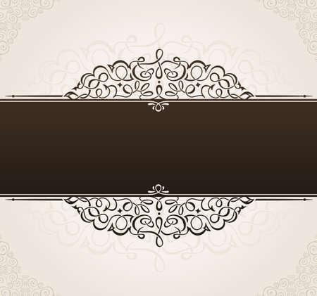 Plantilla de vector para el texto. marco de fondo adornado de la vendimia con adornos negros Foto de archivo - 40364174