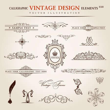 tarjeta de invitacion: Conjunto de vectores. Elementos vintage caligráfico y decoración de página colección de primera calidad. diseño floral