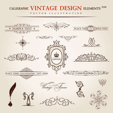 scroll border: Vector set. Calligraphic vintage elements and page decoration premium quality collection. floral design