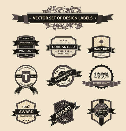 label sticker: Vector set vintage ornate decor elements. ornaments ribbon black labels. illustration