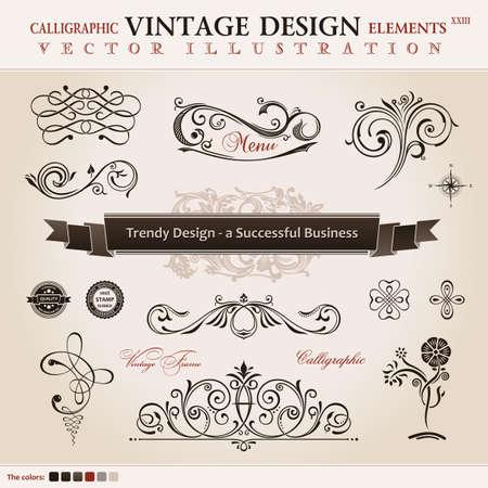 bordes decorativos: Conjunto de vectores clásica. elementos de diseño caligráfico y decoración de libros, colección de ornamento retro