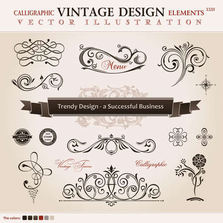 decorative card symbols: Vector set classic. Calligraphic design elements and book decoration, collection ornament retro Illustration