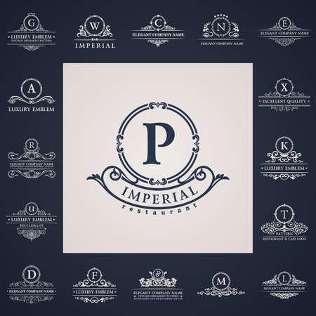 Luxury vintage logo set. Calligraphic letter elements elegant decor. Vector ornament 일러스트