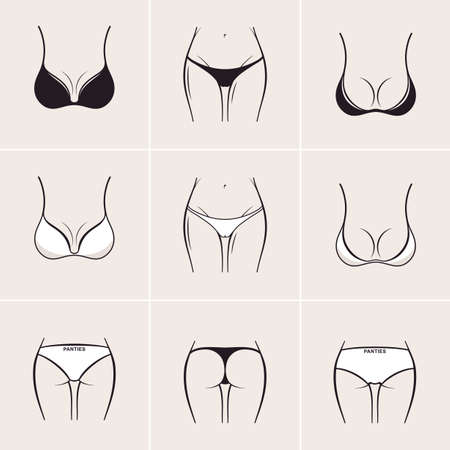 naked female: Sexy bra and panties, icons  . Beautiful elements of women underwear Illustration