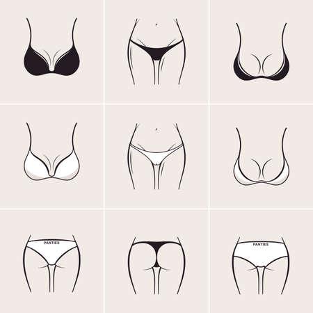 sexo femenino: Sujetador y bragas Sexy, iconos. Hermosos elementos de las mujeres la ropa interior Vectores