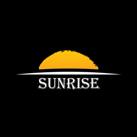 dawn: Vector Icon Sun over horizon. Sunrise logo yellow symbol Illustration