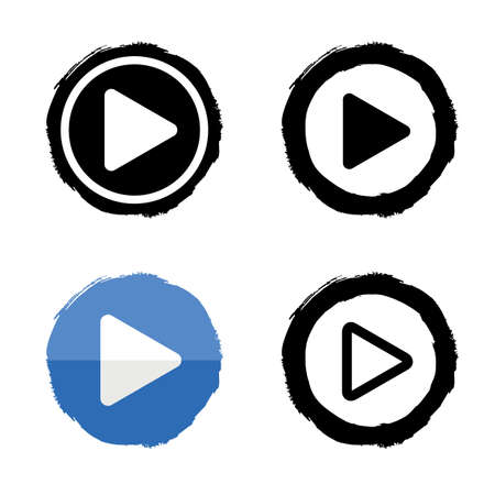 play music: Play music icons set. Vector buttons white and black Illustration