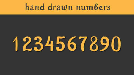 Hand drawn vector numbers. Illustration painted with a brush Vector