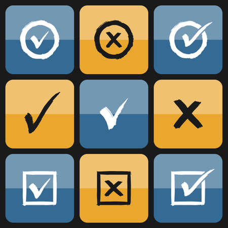 Vector checkbox Set of hand drawn Icons. Ticks and Crosses Represents Confirmation, Right and Wrong Choices Vector