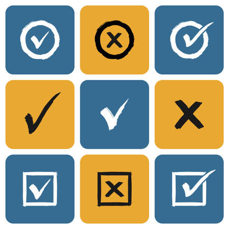 Vector Set of hand drawn Check Marks Icons. Ticks and Crosses Represents Confirmation, Right and Wrong Choices Vector