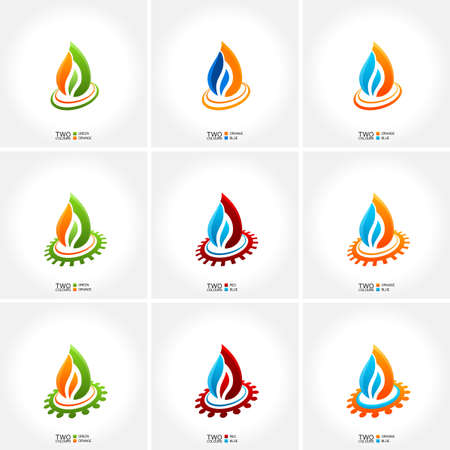 water bubbles: vector business emblem fire water set icon drop
