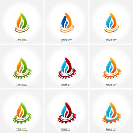 ciclo del agua: vector emblema de negocio conjunto de agua contra incendios icono de la gota
