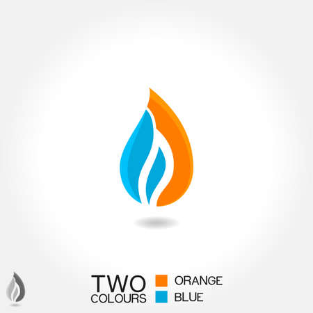 flame: vector business emblem Drop water flame icon blue orange