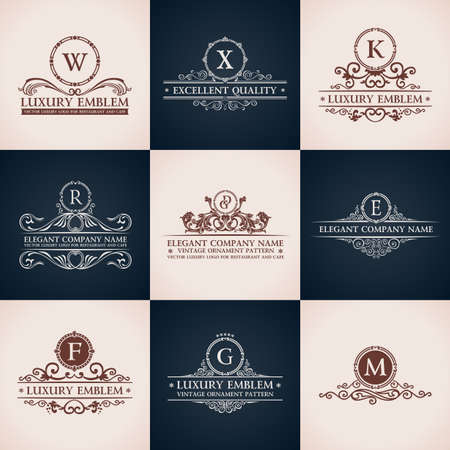 Design logo set. Calligraphic pattern elegant decor elements. Vintage vector ornament