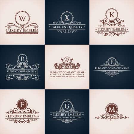 Design logo set. Calligraphic pattern elegant decor elements. Vintage vector ornament