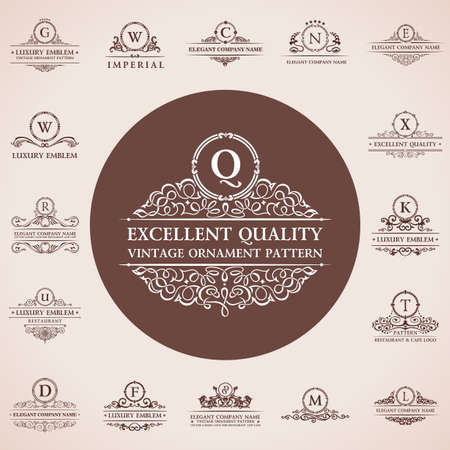 royal background: Calligraphic logos set. Vintage template pattern elegant decor elements. Vector ornament