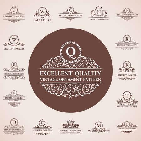 Kalligrafische emblemen. Vintage template patroon elegante inrichting elementen. Vector ornament Stock Illustratie