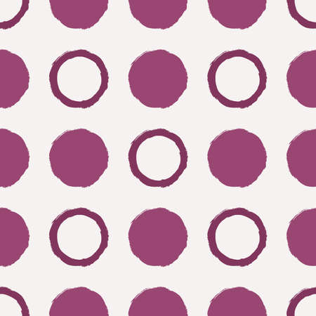 pictorial art: Vector seamless pattern. Abstract background with round brush strokes. Simple hand drawn texture with red circles