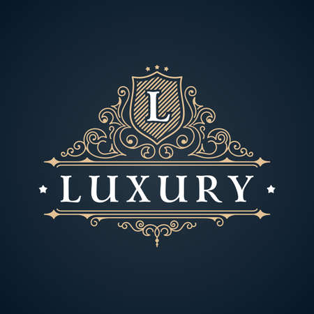 Calligraphic Luxury logo. Emblem elegant decor elements. Vintage vector symbol ornament L Çizim