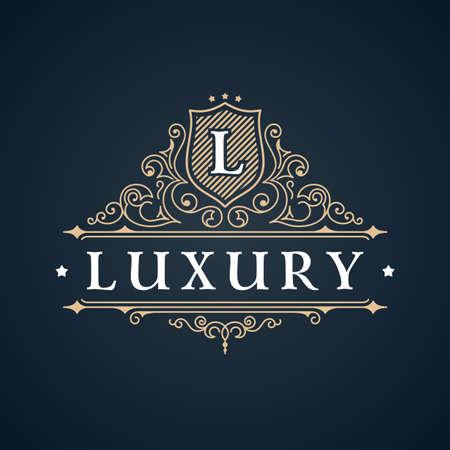 Kalligrafische Luxe logo. Embleem elegant decor elementen. Vintage vector symbool ornament L Stock Illustratie