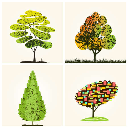 colorful tree: Abstract colorful tree background silhouette. Vector illustration Illustration