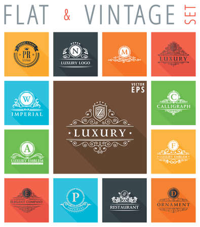 design objects: Vector vintage flat elements icons collection with long shadow effect in stylish colors of web design objects. Luxury logo calligraphic elegant decor with ornament