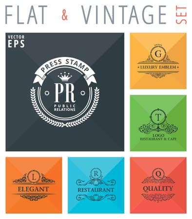 design objects: Vector flat and vintage elements icons collection with long shadow effect in stylish colors of web design objects. Luxury logo calligraphic elegant decor with ornament