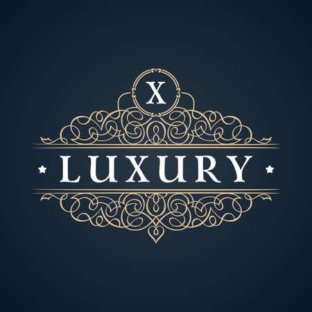 Calligraphic Luxury logo. Emblem ornate decor elements. Vintage vector symbol ornament X