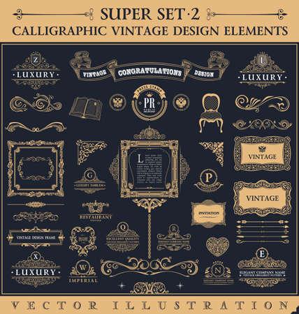 葡萄收穫期: 書法圖標復古元素。矢量巴洛克式的標誌設置。設計元素和頁面裝飾。邊框框架集皇室裝飾
