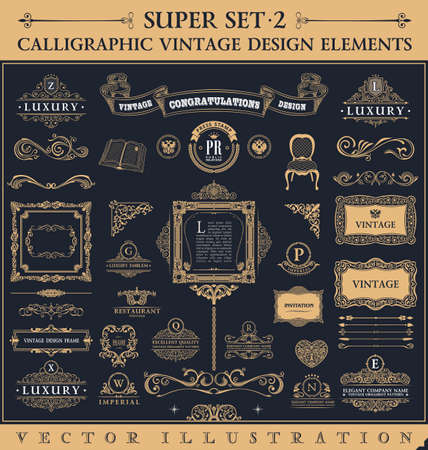 vintage: Kaligrafi simgeler bağbozumu unsurlar. Vektör barok logosu ayarlayın. Tasarım elemanları ve sayfa dekorasyon. Sınır koleksiyonu kraliyet süsleme çerçeveleri