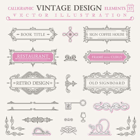 Calligraphic icons vintage elements. Vector baroque logo set. Design elements and page decoration. Border frames collection royal ornament