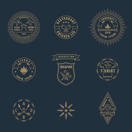 stamp: Conjunto de arte lineal delgada l�nea deco elementos de dise�o retro vintage. Sellos y logotipos vectoriales para tiendas y restaurantes