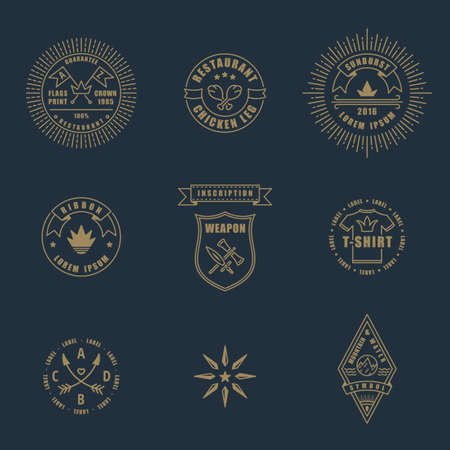Set of linear thin line art deco retro vintage design elements. Stamps and vector logos for shops and restaurants Illustration