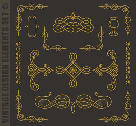 eleganz: Kalli Etiketten elegante Set. Vector Barock-Bilder. Vintage-Design-Elemente und Seite Dekoration. Border frames collection königlichen Schmuck