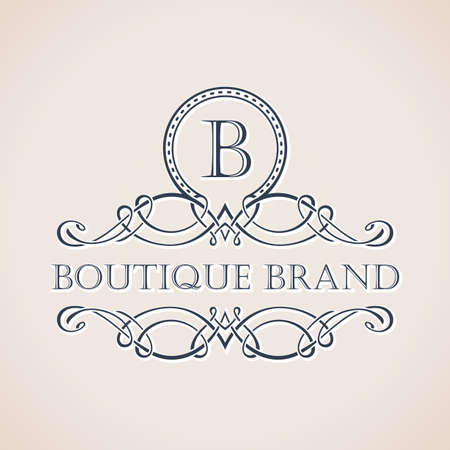 flower logo: Calligraphic Luxury boutique logo. Emblem ornate decor elements. Vintage vector symbol ornament