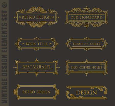 Calligraphic labels and frames elegant set. Vector baroque set. Vintage design elements and page decoration. Border frames collection royal ornament