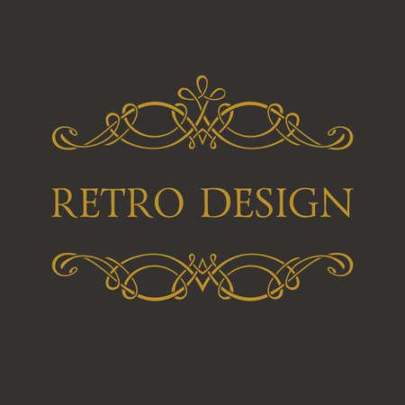 Calligraphic Retro design logo. Emblem ornate decor elements. Vintage vector symbol ornament Vettoriali
