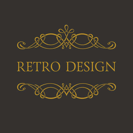Calligraphic Retro design logo. Emblem ornate decor elements. Vintage vector symbol ornament Illustration