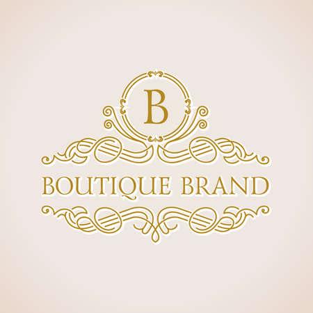 書道の高級ブティックのロゴ。エンブレムの華やかな装飾要素。ビンテージ ベクトル シンボル飾り