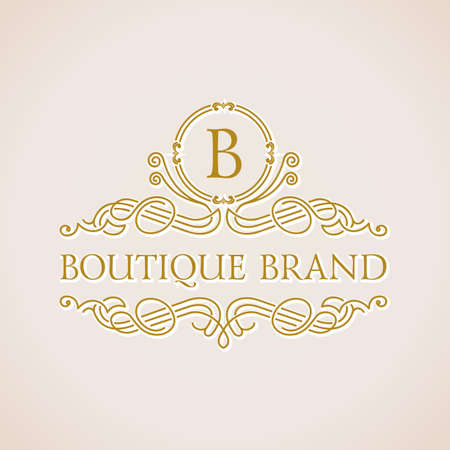 royal background: Calligraphic Luxury boutique logo. Emblem ornate decor elements. Vintage vector symbol ornament