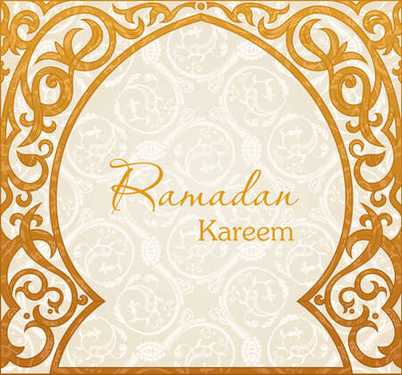 arch: Ramadan Kareem means Ramadan the Generous Month, greeting vector background. Arch Muslim mosque silhouette