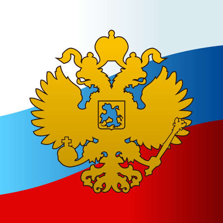 russian: Russian coat arms double-headed eagle emblem. Symbol of empire Russia flag Illustration