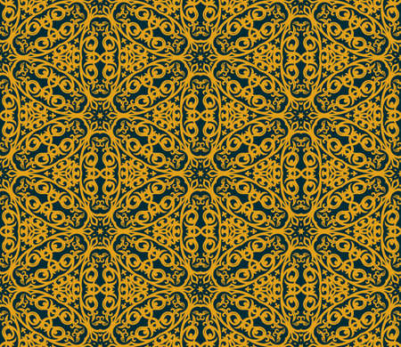 black and blue: Seamless background in Arabic style. Gold, black, blue wallpaper with patterns for design. Traditional oriental decor