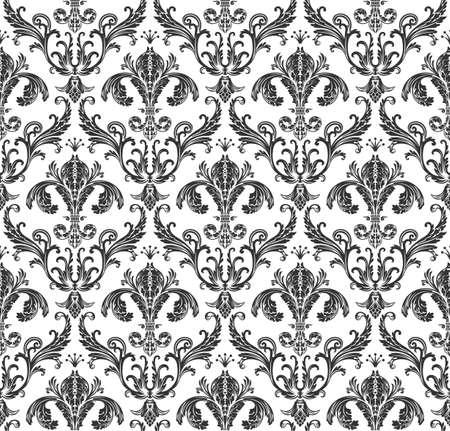 Naadloze behang barok. Zwarte en witte achtergrond vintage Stock Illustratie