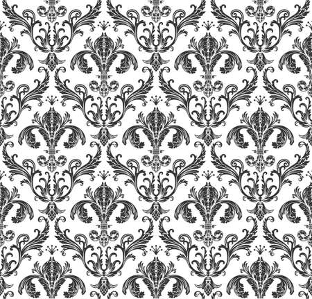 Seamless wallpaper baroque. Black and white background vintage Çizim