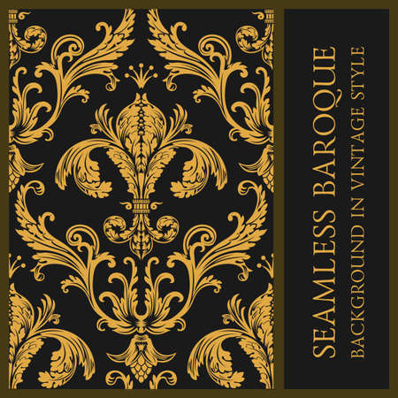 Vintage vector gold Seamless wallpaper. Background in baroque style