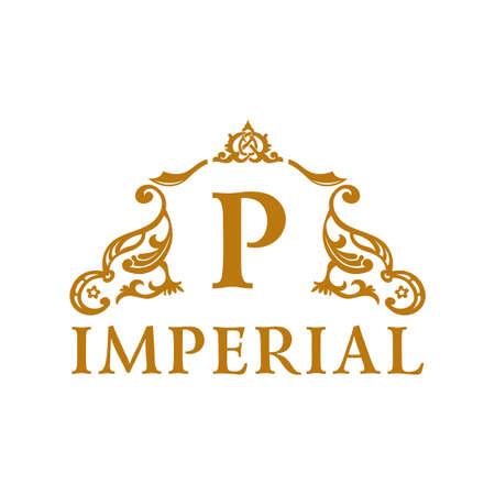 Calligraphic Vintage emblem. Gold decor Luxury logo. Vector ornament Иллюстрация