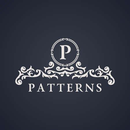 Vintage luxury emblem. Elegant Calligraphic pattern on vector logo. Black and white monogram P