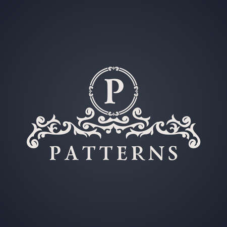 Vintage luxury emblem. Elegant Calligraphic pattern on vector logo. Black and white monogram P