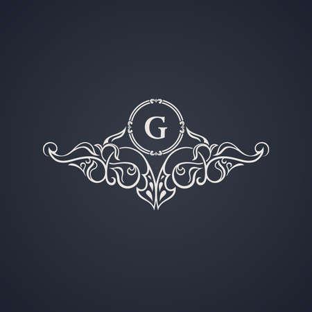border frame: Vintage luxury emblem. Elegant Calligraphic pattern on vector logo. Black and white monogram G Illustration